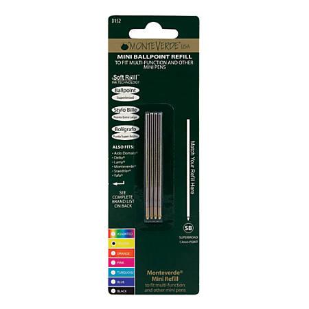 Monteverde® Mini Ballpoint Pen Refills, Super Broad Point, 1.4 mm, Yellow Ink, Pack Of 4