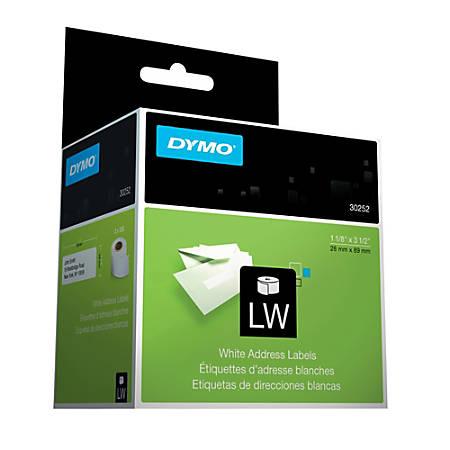 "DYMO® LW Address Label Rolls, 30252, Rectangular, 1 1/8"" x 3 1/2"", White, 350 Labels Per Roll, Box Of 2 Rolls"