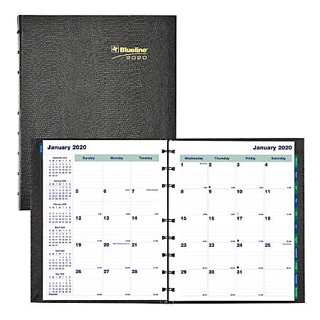 "Blueline® MiracleBind CoilPro 17-Month Planner, 9-1/4"" x 7-1/4"", 50% Recycled, Black, August 2019 to December 2020"