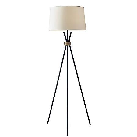 """Adesso® Benson Floor Lamp, 60""""H, White Shade/Black Base"""
