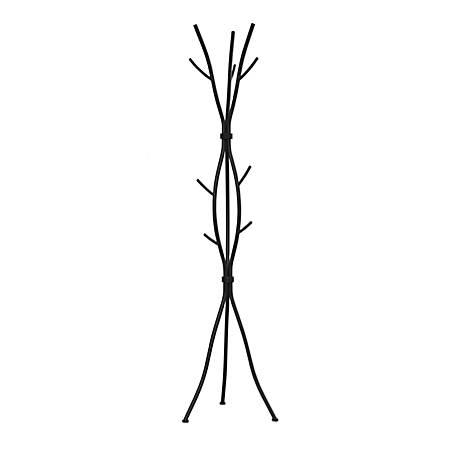 Monarch Specialties 8-Hook Metal Coat Rack, Hammered Black