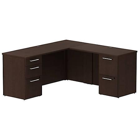 "Bush Business Furniture 300 Series L Shaped Desk With 2 Pedestals 66""W x 22""D, Mocha Cherry, Standard Delivery"
