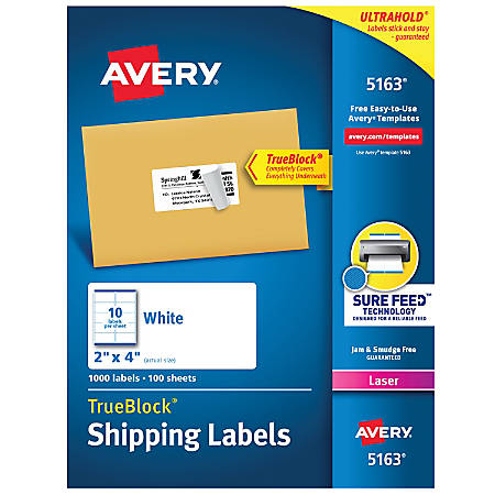 "Avery® Permanent Shipping Labels With TrueBlock® Technology, 5163, 2"" x 4"", White, Box Of 1,000"