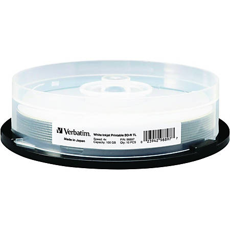 Verbatim BD-R XL 100GB 4X White Inkjet Printable, Hub Printable - 10pk Spindle - 100GB - 10pk Spindle