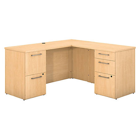 "Bush Business Furniture 300 Series L Shaped Desk With 2 Pedestals 60""W x 22""D, Natural Maple, Premium Installation"