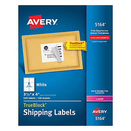 Avery Trueblock White Laser Shipping Labels 5164 3 13 X 4 Pack Of
