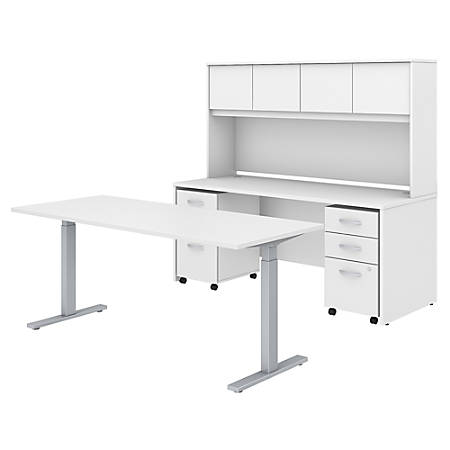 "Bush Business Furniture Studio C 72""W x 30""D Height Adjustable Standing Desk, Credenza with Hutch and Mobile File Cabinets, White, Standard Delivery"