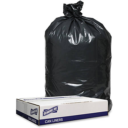 "Genuine Joe 1.2mil Black Trash Can Liners - 40"" Width x 46"" Length x 1.20 mil (30 Micron) Thickness - Low Density - Black - 100/Carton - Can"
