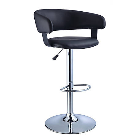 Powell® Home Fashions Faux Leather Barrel Back Adjustable Bar Stool, Black/Chrome