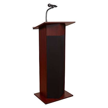 Oklahoma Sound® The Power Plus Lectern With Wireless Headset Microphone, Medium Oak