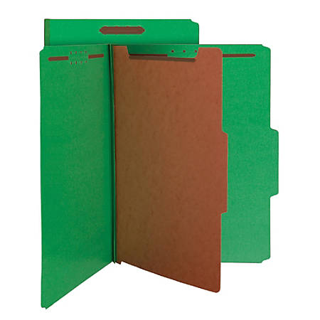 Smead® Pressboard Classification Folders, 1 Divider, Legal Size, 100% Recycled, Green, Pack Of 5