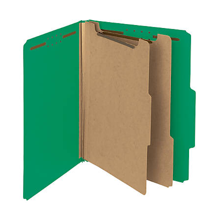 Smead® Pressboard Classification Folders, 2 Dividers, Letter Size, 100% Recycled, Green, Pack Of 5