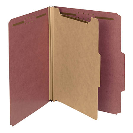 Smead® Pressboard Classification Folders, 1 Divider, Letter Size, 100% Recycled, Red/Brown, Pack Of 5