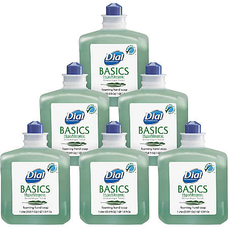 Dial Basics Hypoallergenic Honeysuckle Foaming Hand Soap Refills, 33.8 Oz, Case Of 6