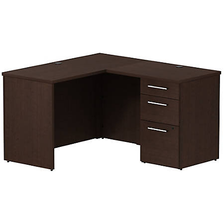 "Bush Business Furniture 300 Series L Shaped Desk With 3 Drawer Pedestal, 48""W x 22""D, Mocha Cherry, Premium Installation"