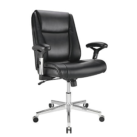 Realspace® Densey Bonded Leather Mid-Back Managerial Chair, Black