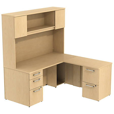 """Bush Business Furniture 300 Series L Shaped Desk With Hutch And 2 Pedestals 66""""W x 30""""D, Natural Maple, Premium Installation"""