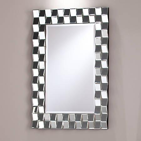 """Southern Enterprises Leslie Decorative Rectangular Mirror, 35 1/2""""H x 23 3/4""""W x 1 1/2""""D, Black"""