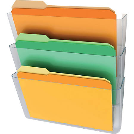 deflect-o Stackable Wall Pocket File, 3 Pack, Clear