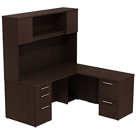 """Bush Business Furniture 300 Series L Shaped Desk With Hutch And 2 Pedestals 66""""W x 30""""D, Mocha Cherry, Standard Delivery"""