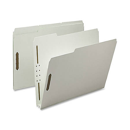 "Nature Saver 1/3-Cut Pressboard Fastener Folders, Letter Size, 2"" Expansion, 100% Recycled, Gray Green, Box Of 25"