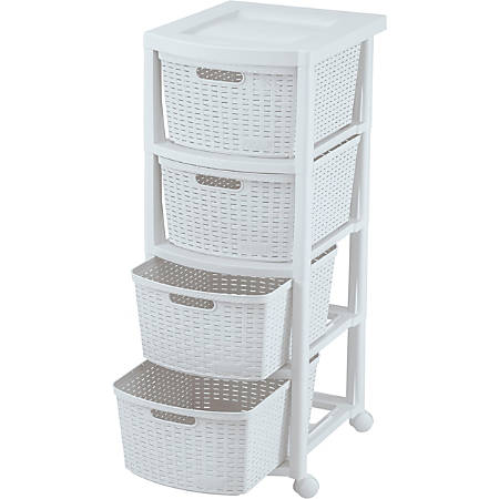 Rimax Rolling Storage Cart, 4-Drawer, White