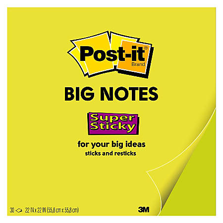 """Post it® Notes Super Sticky Big Notes, 22"""" x 22"""", Neon Green, Pack Of 1 Pad"""