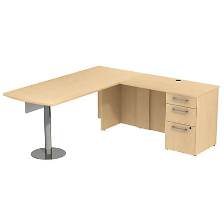 """Bush Business Furniture 300 Series L Shaped Desk And Hutch With 3 Drawer Pedestal And 2 Drawer Lateral File Cabinet, 72""""W x 30""""D, Natural Maple, Premium Installation"""