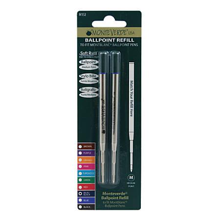 Monteverde® Ballpoint Refills For Montblanc Ballpoint Pens, Medium Point, 0.7 mm, Blue/Black Ink, Pack Of 2