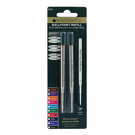 Monteverde® Ballpoint Refills For Montblanc Ballpoint Pens, Medium Point, 0.7 mm, Brown Ink, Pack Of 2