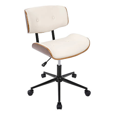 LumiSource Lombardi Mid-Century Modern Mid-Back Chair, Cream/Walnut/Black  Item # 4644194