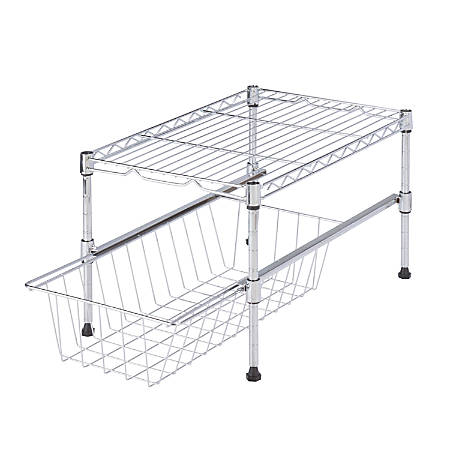"""Honey-Can-Do Adjustable Cabinet Organizer With Shelf And Basket, 10 1/2""""H x 11 3/4""""W x 17 1/2""""D, Chrome"""