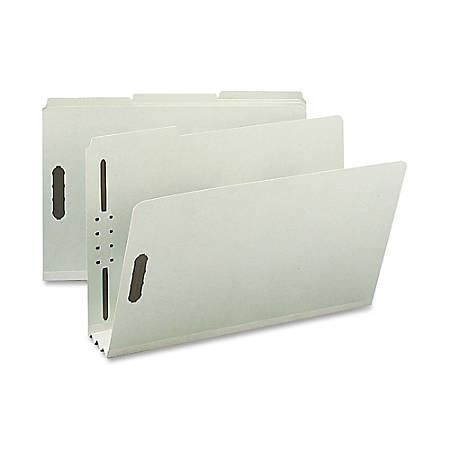 """Nature Saver 1/3-Cut Pressboard Fastener Folders, Legal Size, 3"""" Expansion, 75% Recycled, Gray Green, Box Of 25"""