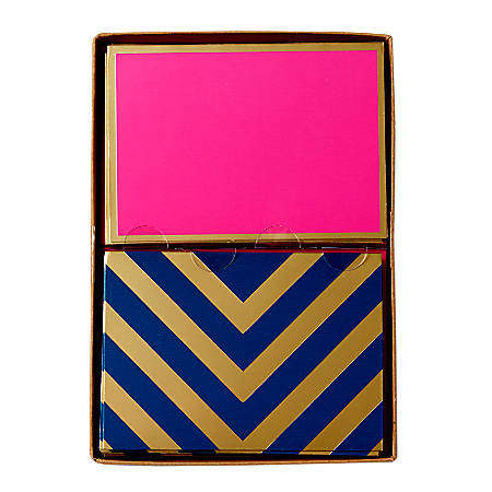 """Sincerely A Collection by C.R. Gibson® Double-Pack Note Cards With Envelopes, 4 7/8"""" x 3 1/2"""", Pink/Navy, Box Of 16"""