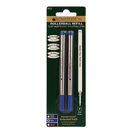 Monteverde® Rollerball Refills For Montblanc Rollerball Pens, Fine Point, 0.5 mm, Blue, Pack Of 2 Refills