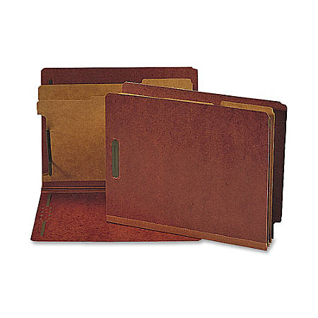 Nature Saver Red Classification Folders With 2 Dividers, Letter Size, 75% Recycled, Box Of 10