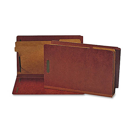 Nature Saver Red Classification Folders With 2 Dividers, Legal Size, 100% Recycled, Box Of 10