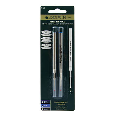 Monteverde® Capless Gel Refills For Montblanc® Ballpoint Pens, Fine Point, 0.5 mm, Blue, Pack Of 2