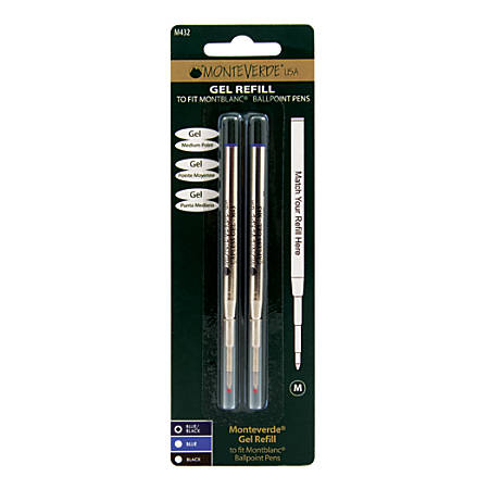 Monteverde® Capless Gel Refills For Montblanc® Ballpoint Pens, Medium Point, 0.7 mm, Blue/Black, Pack Of 2