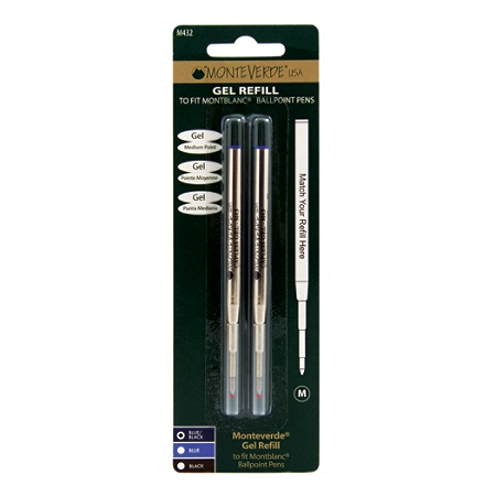 Monteverde Capless Gel Refills For Montblanc Ballpoint Pens Um Point 0 7 Mm Blueblack Pack Of 2 By Office Depot Officemax