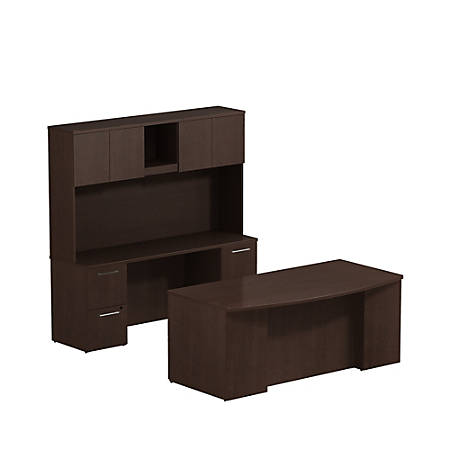 """Bush Business Furniture 300 Series Bow Front Desk And Credenza With Hutch And 2 Pedestals, 72""""W x 36""""D, Mocha Cherry, Premium Installation"""