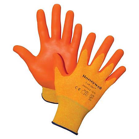 Honeywell Tuff-Glo Hi-Viz Safety Gloves - X-Large Size - Nylon Liner, Nitrile Palm, Nitrile Fingertip - Orange - Cut Resistant, Abrasion Resistant, Puncture Resistant, Durable, Lightweight - For Construction, Manufacturing, Transportation - 2 / Pair