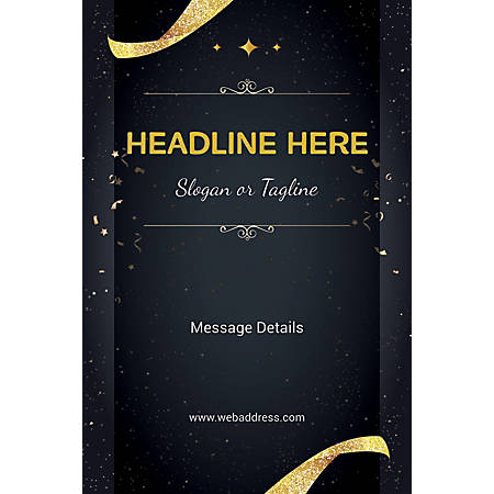 Adhesive Sign, Gold Ribbons and Sparkles, Vertical