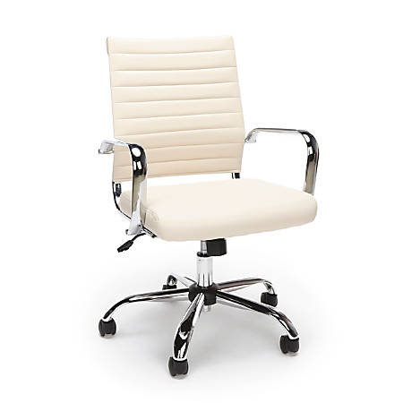 Essentials By OFM Ribbed Bonded Leather High-Back Chair, Ivory/Black