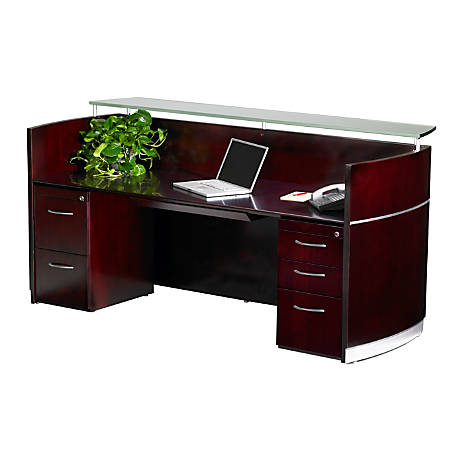Mayline® Napoli Reception Station, With 2 Pedestals, Mahogany
