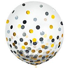 Amscan 24 Confetti Balloons BlackGoldSilver 2
