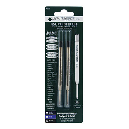 Monteverde® Soft Roll Parker® Style Ballpoint Refills, Broad Point, 0.9 mm, Black, Pack Of 2