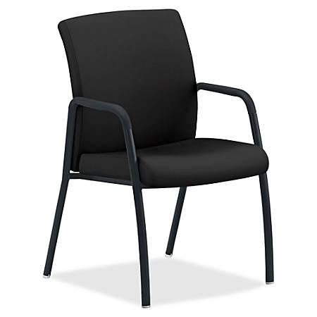 "HON Ignition 4-Leg Guest Chair - Fabric Black, Wood, Polyester Seat - Fabric Black, Wood, Polyester Back - Steel Frame - Four-legged Base - 16.75"" Seat Width x 16.75"" Seat Depth - 23"" Width x 24"" Depth x 35.5"" Height"