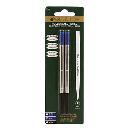 Monteverde® Rollerball Refills For Parker® Rollerball Pens, Fine Point, 0.5 mm, Blue, Pack Of 2 Refills