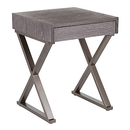 """LumiSource Luster Side Table, 24-1/4""""H x 19""""W x 19""""D, Antique Metal/Dark Gray"""